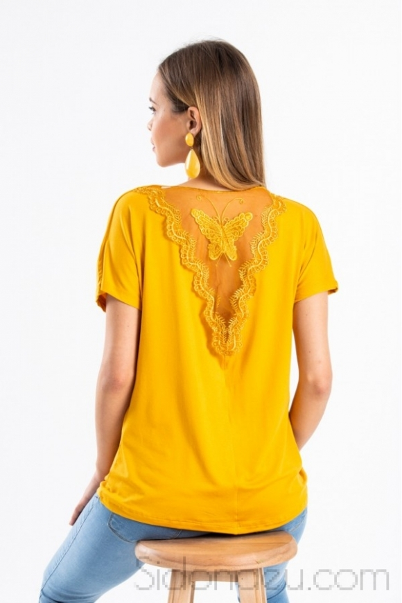 Yelow blouse with butterfly