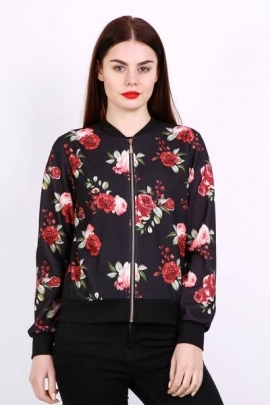Zipper flowers jacket