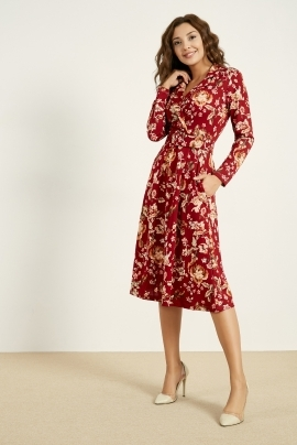 Elegant and Office style dress red with flowers