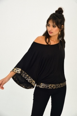 Modern black blouse with wide sleeves